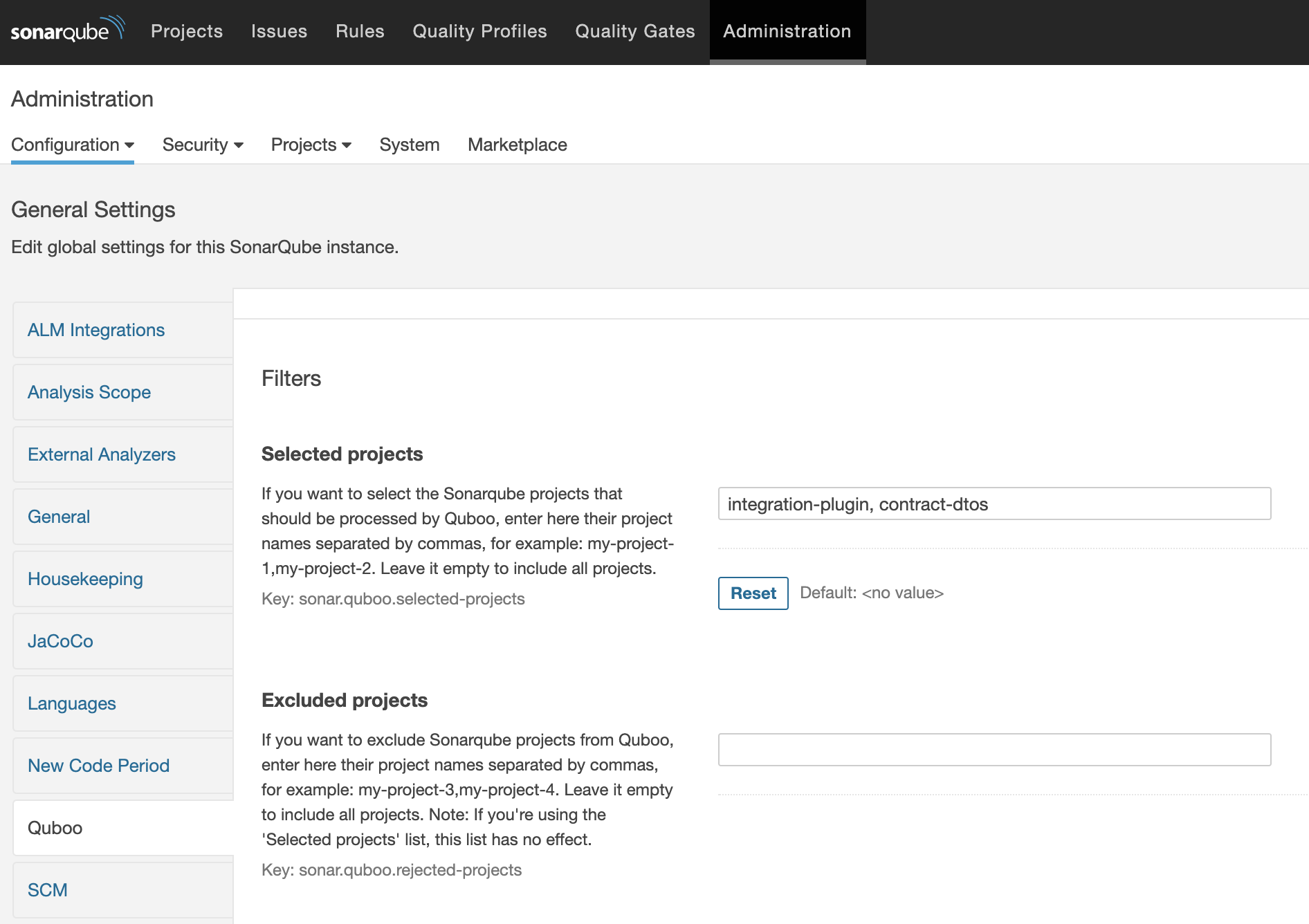 Project Inclusion/Exclusion settings
