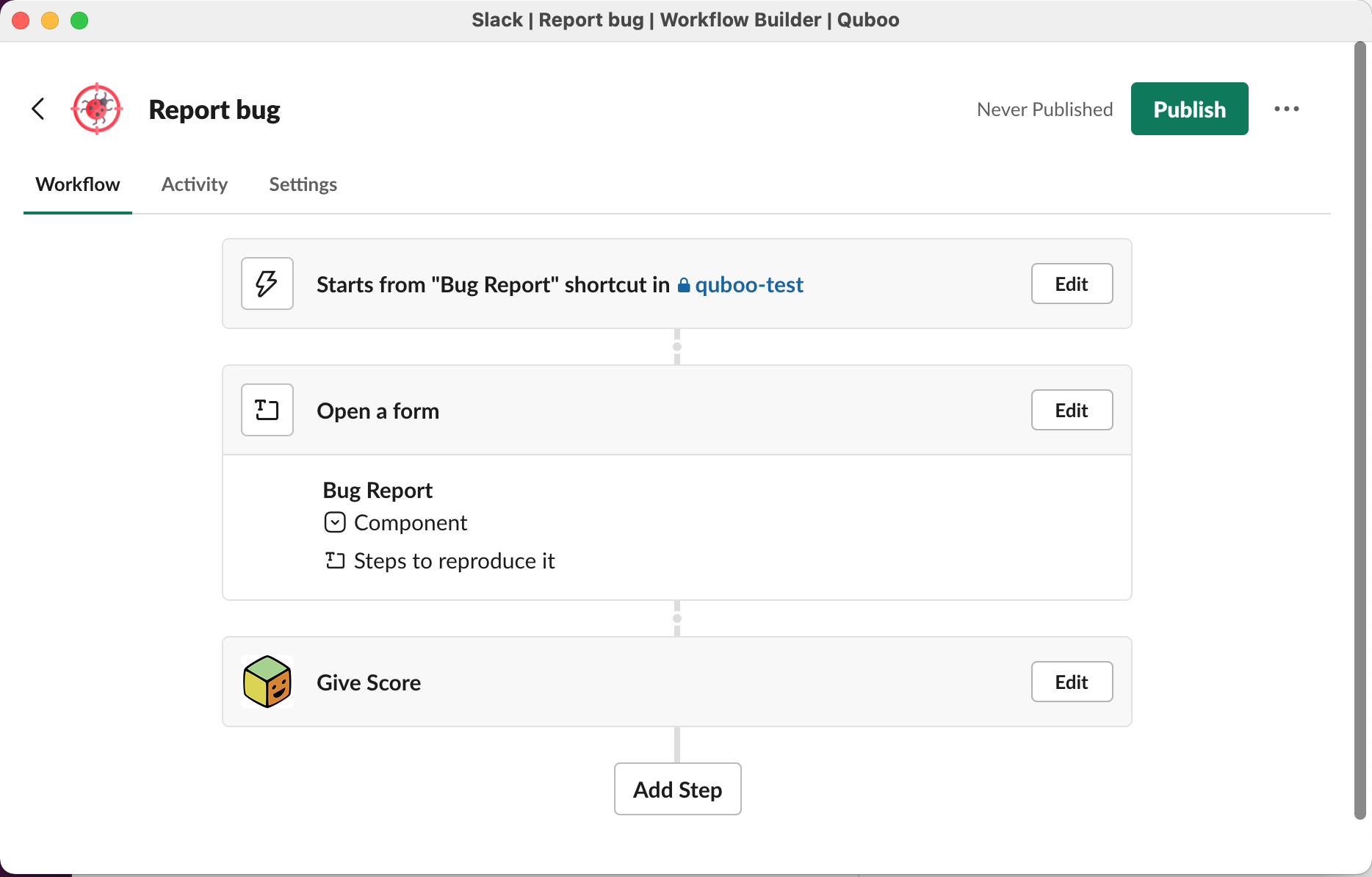 A workflow example - Report Bug